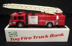 Hess 1986 Toy Fire Truck Bank Rare Gold Grill Mint In Box