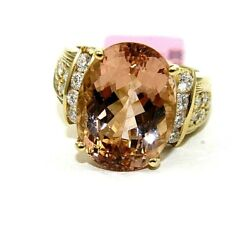 Natural Oval Morganite And Diamond Halo Solitaire Ring 14k Yellow Gold 10.92ct
