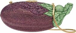 Judith Leiber Eggplant Aubergine Evening Bag Gold Crystal Purse Purple Vintage $2399.95