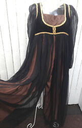 Rare 60s Jay Morley For Fern Violette Maxi Palazzo Pant-dress Medieval Juliet M