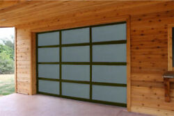 Full View Garage Door 8 Ft By 7 Ft Anodized Bronze Frame With Frosted Glass