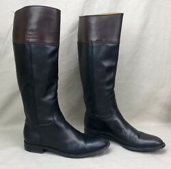 Authentic Tall Riding Boots Flat Black Brown Leather Size 8 Classic