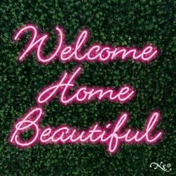Welcome Home Beautiful 32x27x1in. Led Neon Flex Sign-lf088
