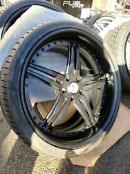 ♦️20/21 Staggered Asanti 3pc Wheel And Tire Package 5x120 Matte Black