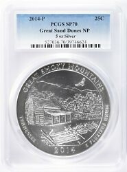 2014-p Pcgs Sp70 Error Label Great Smoky Mountain To Great Sand Dunes Atb 5 Oz