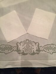 Exquisite Vintage Pure Linen Bed Sheet Set Pulled Thread Lace Work Made Italy Qs
