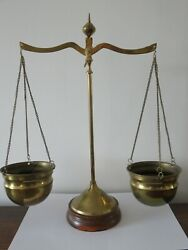 Antique Vintage Brass Scales Jewellers Travelling Hanging Scales With Bowls