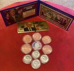 Jfk/trump 12-pccoin And Currency Jfk Silver .999 Copper Coins 2 Trump Bill-new