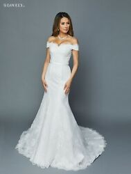 380 Wedding Dress Bridal Gown W/ Off-shoulder Scalloped Bodice