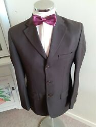 Gian Marco Rossi Menand039s Brown Suit Jacket Eu48 C38reg Made In Italy S140s Wool