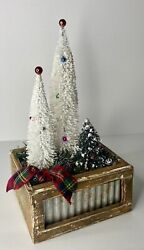 """Vintage Bottle Brush Christmas Trees W/ Ornaments In Rustic Crate 14"""" Tall"""
