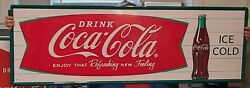 Coca-cola Tall 53 Embossed Steel Sign Horizontal Arciform Fishtail Ice Cold