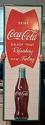 Coca-cola Tall 53 Inch Embossed Steel Sign Fishtail Arciform Refreshing