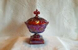 Fenton Red Carnival Family Signature Footed Candy Dish With Lid - From 1995