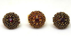 Antique Bohemian 14k Solid Yellow Gold And Garnet Earrings And Ring Set Signed