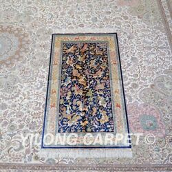 Yilong 3'x5' Leaves Pattern Handwoven Silk Carpet Sitting Room Area Rug Z458a