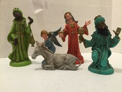 Three Wise Menthree Kings Nativity Figurines Made In Italy With Angel And Donkey