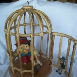 Vintage Walt Disney Pinocchio And Jiminy Cricket Statues In Wooden Cage 1998