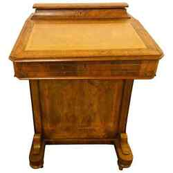 19th Century Victorian Davenport Desk Burl Inlaid Over Four-side Drawers