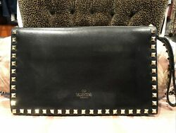 Valentino Rockstud Clutch Black with Gold hardware $500.00