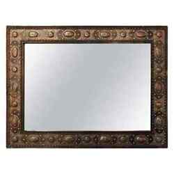 Hollywood Regency Style With Natural Stone And Brass Inlaid Hanging Wall Mirror