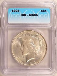 1923 Peace Dollar Silver S1 Gem Brilliant Uncirculated Mint State Icg Ms65