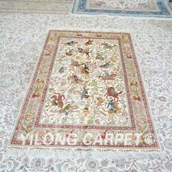 Yilong 4and039x6and039 Hunting Scene Hand Knotted Silk Carpet Home Decor Area Rug Z476a