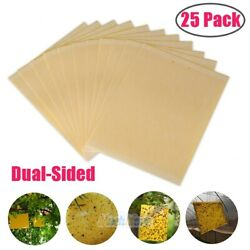 25 Sheets Double-sided Yellow Sticky Traps Flying Insect Fruit Fly Traps Catcher