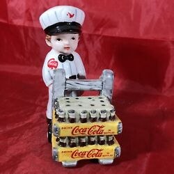 1997 Enesco Advertising Coca-cola Delivery Man And Cart Salt And Pepper Shakers