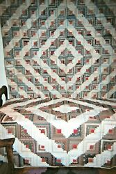 Two 2 Barnraising Log Cabin Quilts C. 1880-1890. An Odd Pair. Cottons.