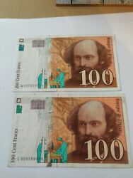 Two 100 Cent Francs Banknotes