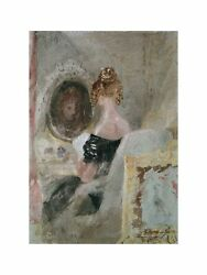 William Turner - Interior Of Petwoath House Woman At Mirror 1830 Print 60x80cm