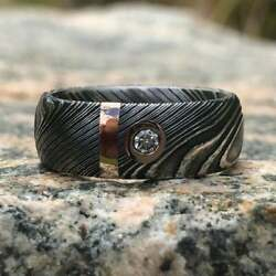 New 8mm Wide Damascus Steel Ring With 14k Solid Rose Gold Inlay And Diamond