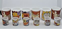 6 Desimone Coffee And Espresso Mugs Cups Hand Painted Pottery Ceramic Italy 12 Lot