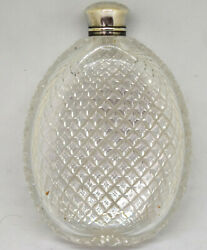 Antique Cut Glass Pocket Whiskey Flask With Sterling Silver Cap