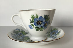 Clarence Tea Cup And Saucer Fine English Bone China Gold Trim Blue Flowers