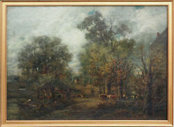 Old Mill Rd Long Island New York Farm Antique Oil Painting Charles Henry Miller
