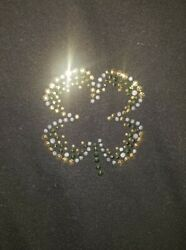 Target Childrens Size Xl Black T-shirt Studded 4-leaf Clover St. Patrickand039s Day