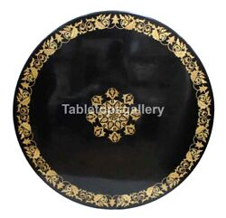 30 Black Marble Top Round Coffee Table Mosaic Inlaid Work Occasion Decors B223
