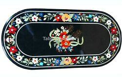 4and039x2and039 Black Marble Dining Table Tops Precious Floral Inlay Living Art Dandeacutecor B235