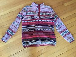 Columbia Fleece Jacket Pullover Tribal Aztec Womens L Snap up T Synchilla