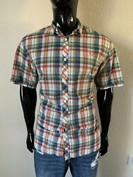 Fred Perry Short Sleeve Green Red Blue Plaid Button Up Shirt Size XL Slim Fit $24.99