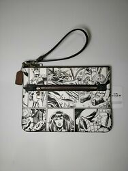 New Coach Marvel Gallery Pouch Comic Book Print Nwt Limited 3578 Chalk Black