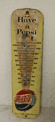 Vintage 1959 Have A Pepsi Cola Soda Tin Embossed Thermometer 27 Sign Original
