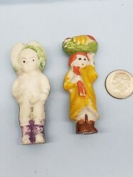 Vintage Bisque Frozen Charlotte Penny Dolls Lot of 2 Japan 2.25quot; tall