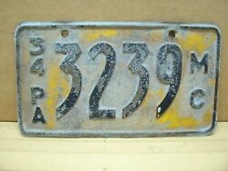 Vintage Pa 1934 Pennsylvania Mc Motorcycle Scooter License Plate Harley Indian