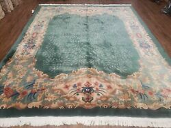 8and039 X 10and039 Antique Hand Made Art Deco Nichols Peking Chinese Rug Carpet Teal Nice