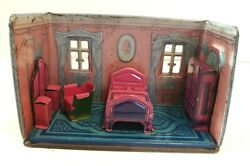 Marx Tin Lithographed Honey Moon Cottage Bedroom With 4 Pieces Of Furniture