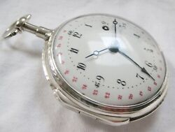 French Verge Fusee Silver Pocket Watch With Date, In Top Condition Ca 1820