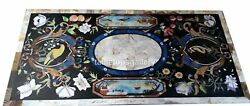 3and039x4and039 Marble Dining Table Tops Mosaic Floral And Birds Inlay Restaurant Decor B309